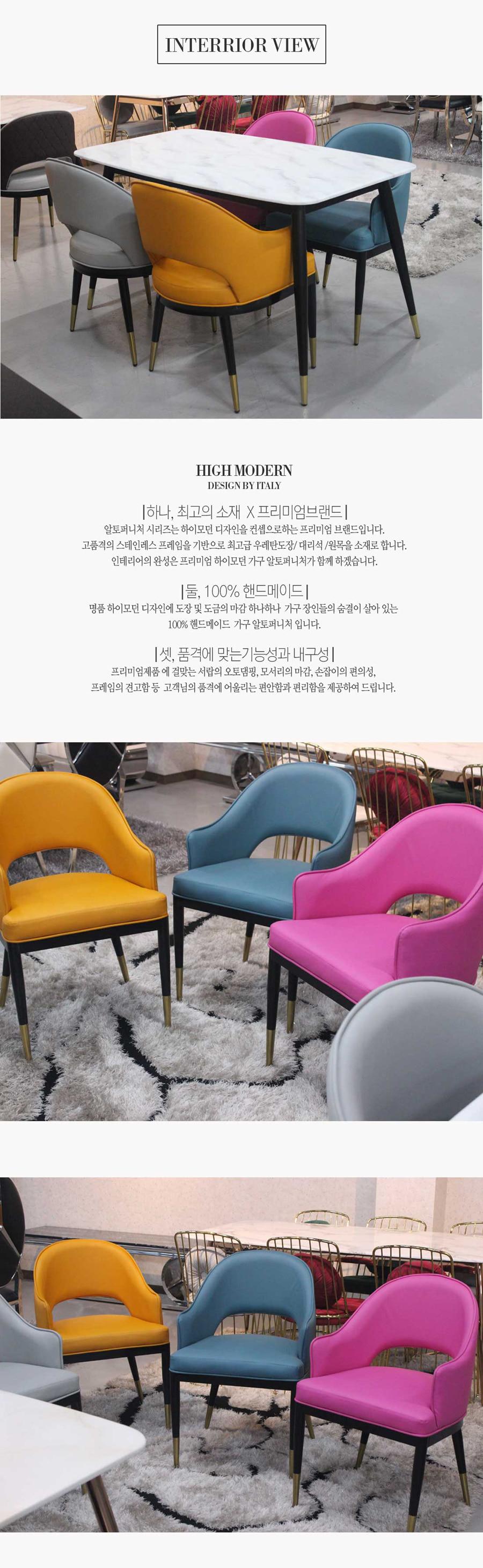 가죽 골드 스테인레스 인테리어 식탁의자 블랙 체어 4가지색상 보니타체어 - 알토퍼니처, 200,000원, 디자인 의자, 인테리어의자
